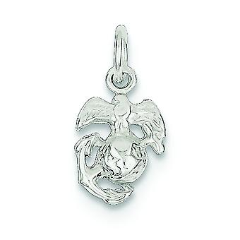 925 Sterling Silver Solid Polished Flat back Not engraveable Marine Corps Emblem Charm - .7 Grams