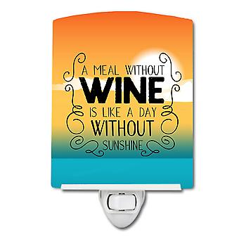 Carolines Treasures  BB5407CNL A Meal without Wine Sign Ceramic Night Light