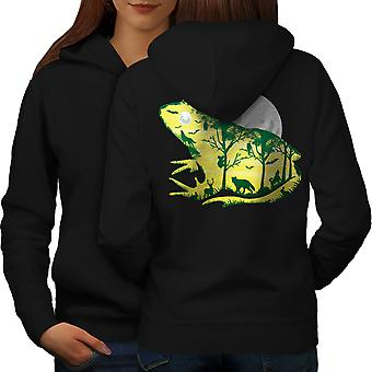 Frog Moon Nature Fantasy Women BlackHoodie Back | Wellcoda