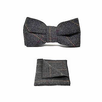 Muszka & placu kieszeni zestaw luksusowych jodełkę węgiel drzewny szary Tweed mężczyzn