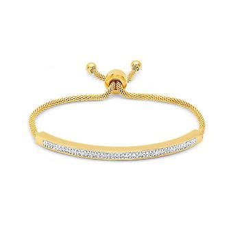Dames 18K goud vergulde witte gesimuleerde Diamond Id koord armband