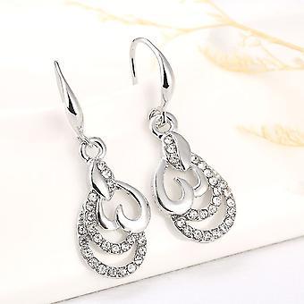 Schöne Silber Herz Tropfen Ohrringe Kristall Steinen Anhänger BG1592