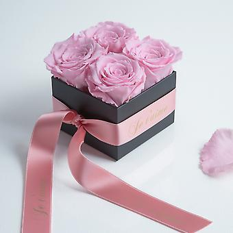 Je t' J'aime 4 preserved roses pink and satin ribbon shelf life 3 years