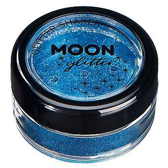 Feine Glitter Schüttler vom Mond Glitter – 100 % kosmetische Glitter für Gesicht, Körper, Nägel, Haare und Lippen - 5g - blau