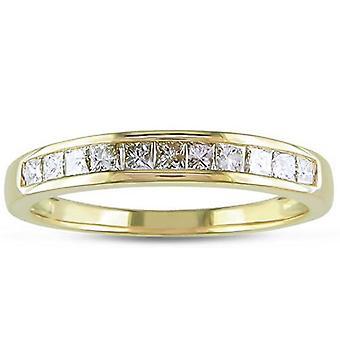 3/8ct princezná rezané Diamond snubný prsteň 14K žlté zlato