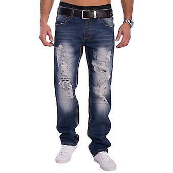 Men Destroyed Distressed 5-pocket jeans trousers Danbury torn Regular Fit blue