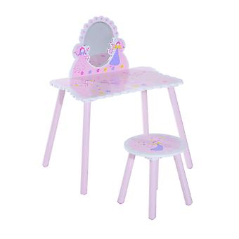 HOMCOM Girls Pink Wooden Kids Dressing Table & Stool Make Up Desk Chair Toys Fairy Dresser Play Set w/Mirror
