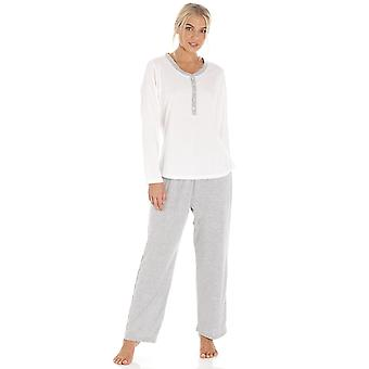 Camille Pink & Grey Pin Dot Long Sleeve Polycotton Pyjama Set