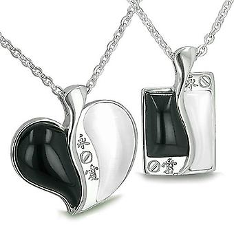 Amulettes Love Forever Kanji Couples meilleurs amis Yin Yang coeur Tag Onyx magique Cats Eye colliers