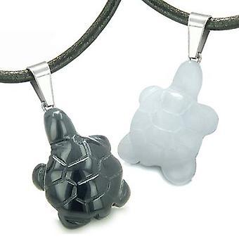 Dubbelrum Lucky sköldpaddorna älskar par eller bästa vänner amuletter positiv energi Onyx vit Jade halsband