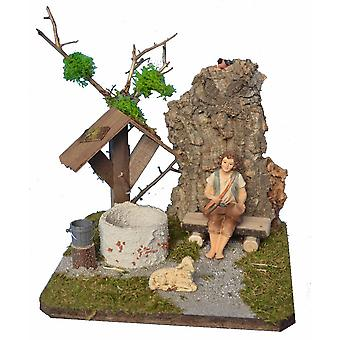 Nursery landscape with fountain, bench and Shepherd Nativity accessories for Nativity