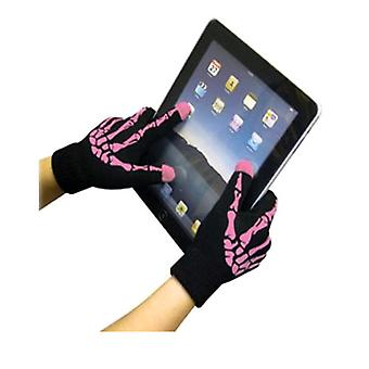 Boss Tech Touch Screen Gloves (Pink/Skeleton)