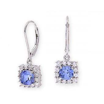 Star Wedding Rings Sterling Silver Earring Set With Blue Sapphire Gem Stone And White Sapphires