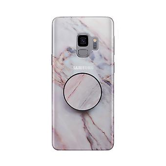 Marmor fallet med telefonhållare - Samsung Galaxy S9 +