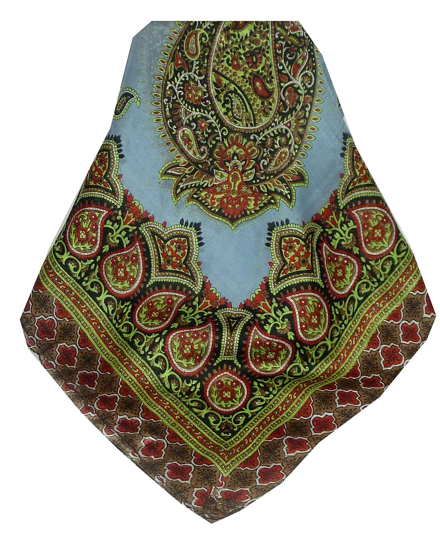 Mulberry Silk Traditional Square Scarf Salena Grey & Red by Pashmina & Silk
