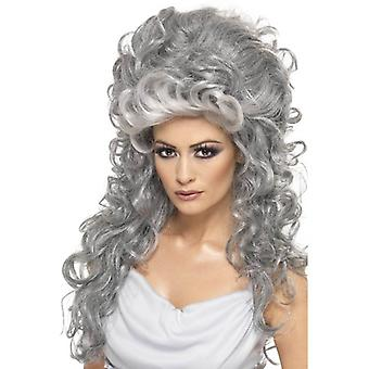 Long Grey Beehive Wig, Medeia Witch Beehive Wig. Halloween Accessory