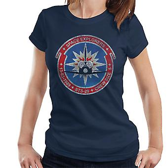 NASA STS 29 Discovery Mission Badge Distressed Women's T-Shirt