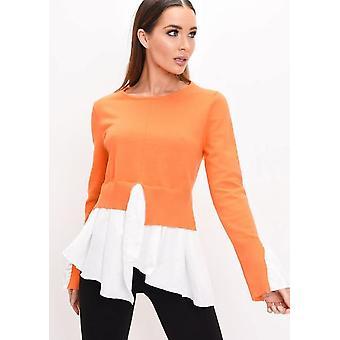 Saum Rüschen Manschette stricken Pullover Orange