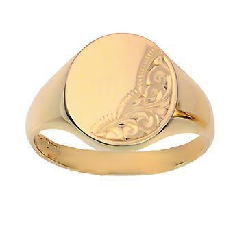 9ct arany 15x15mm tömör kézzel vésett ovális Signet Ring méret Z