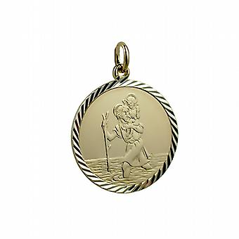 1/20th 14ct yellow gold on Silver 25mm round diamond cut edge St Christopher Pendant