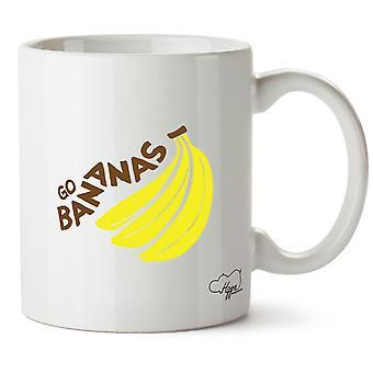 Hippowarehouse Go Bananas Printed Mug Cup Ceramic 10oz