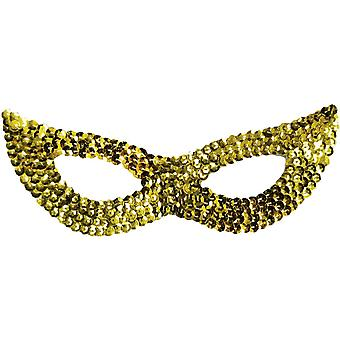 Cat Mask Sequin Gold For Adults