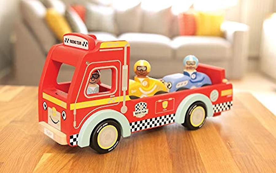 Indigo Jamm Touring Taylor Transporter, Wooden Toy Tow Truck with Removable Passengers and Retro Sports Cars