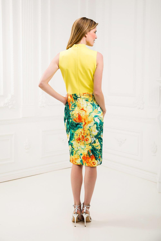 Yellow pencil dress