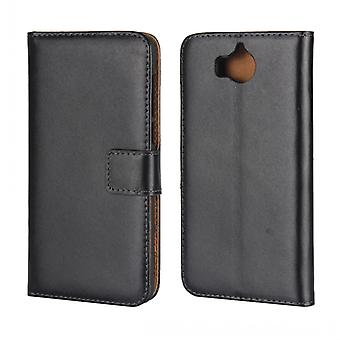 Wallet iphone Huawei Y6 2017, genuine leather, black