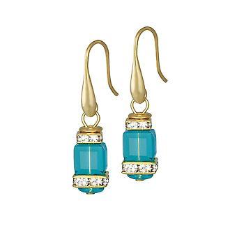 Eternal Collection Francesca Aquamarine Crystal Gold Tone Drop Pierced Earrings