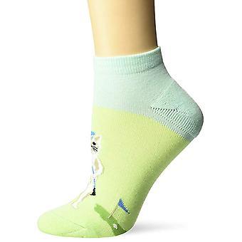 Women's Crew Socks - K Bell - Golfing Cat No Show Green (9-11)