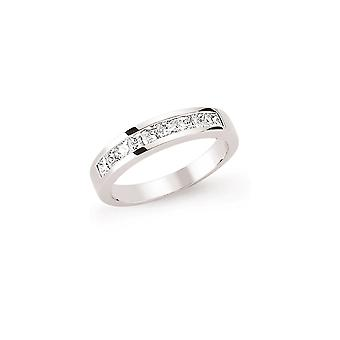 Jewelco London Rhodium Plated Sterling Silver Princess Cut Cubic Zirconia Channel Set Eternity Ring