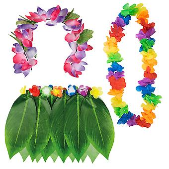 TRIXES Hawaiian Fancy Dress 3PC Collection for Tropical Beach Theme Luau Party