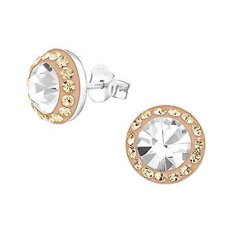 Runde - 925 Sterling sølv Crystal øret knopper - W25103x
