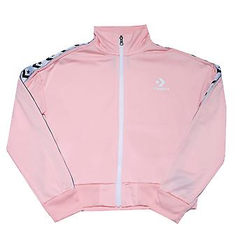 Junior Girls Converse Star Chevron Track Jacke in pink.