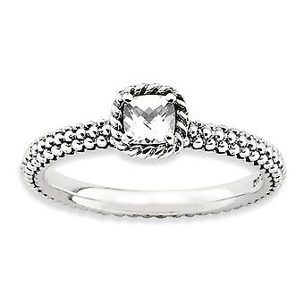 2.5mm 925 Sterling Silver Prong ensemble finition Stackable Expressions Checker coupé White Topaz Ring Jewelry Gifts for Women -