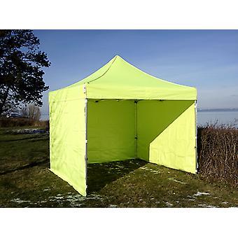 Vouwtent/Easy up tent FleXtents PRO 3x3m Neon geel/groen, inkl. 4 Zijwanden