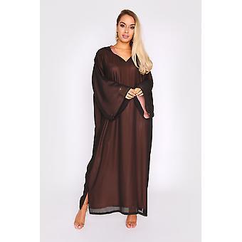 Djellaba kmiss basma sobredimensionado forro de contraste con capucha v-cuello maxi vestido en negro
