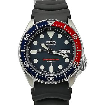 Seiko Japanese Made Divers Pepsi Automatic 200m Silver Stainless Steel Black Rubber Strap Men's Watch