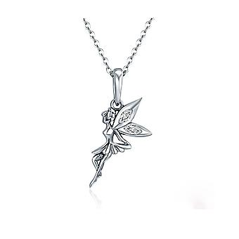 Fairy pendant necklace adorned with white and silver Swarovski Crystal 925 8287
