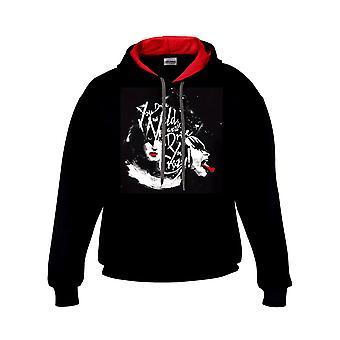Kus-kus liefdevolle kont rode en zwarte hoodie