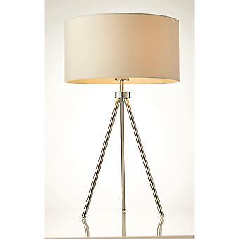 Endon Tri 1 Light Table Lamp Chrome, Efeito de Linho de Marfim 73144