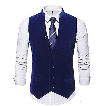 Allthemen Men's Solid V-Neck Stand Collar Winter Casual Suit Vest