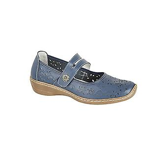 Boulevard Charlotte Ladies Leather Mary Jane Shoes Blue