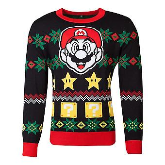Nintendo Super Mario Bros Mario & Sterne gestrickte Weihnachten Pullover Unisex groß