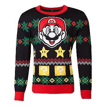 Nintendo Super Mario Bros Mario & Stars Knitted Christmas Sweater Unisex Large