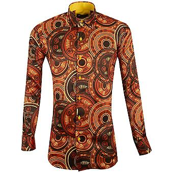 Oscar Banks Silky Texture And African Ornament Mens Shirt