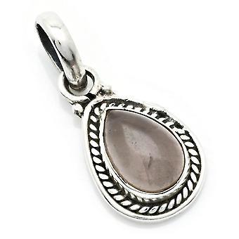 Amuleto de caneta de corrente prata 925 Sterling Silver Rose Quartz Pink Stone (Nr: MAH 147-07)
