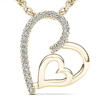 Igi certified solid 10k yellow gold 0.08ct diamond dual heart pendant necklace