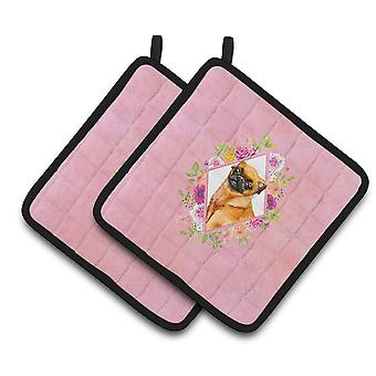 Carolines Treasures  CK4185PTHD Brabant Griffon Pink Flowers Pair of Pot Holders